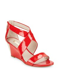 Louise Et Cie Priti Patent Leather Wedge Sandals Red