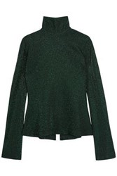 Ellery Gospel Ribbed Metallic Ribbed Knit Turtleneck Sweater Forest Green