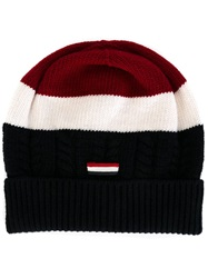 Moncler Gamme Bleu Striped Beanie Hat Red