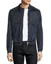 Moncler Mesh Zip Up Moto Bomber Jacket Navy Men's