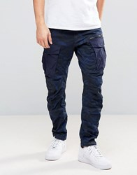 G Star Rovic Zip Pm 3D Tapered Trouser Blue Camo Imperial Blue Saru B