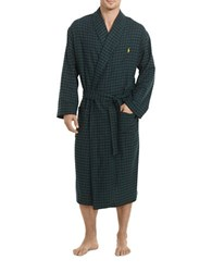 Polo Ralph Lauren Long Sleeve Flannel Robe Green