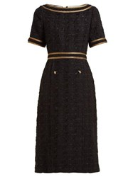 Gucci Ribbon Trimmed Embroidered Tweed Dress Black