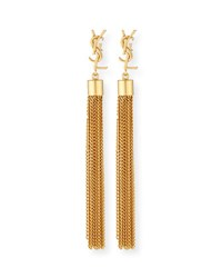 Saint Laurent Monogram Small Tassel Chain Earrings Gold