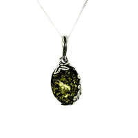 Goldmajor Green Amber And Sterling Silver Necklace Silver Green