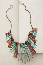 Sibilia Patina Fringed Bib Necklace Turquoise