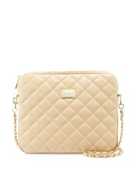 St. John Quilted Leather Chain Shoulder Bag Classic Beige Gold