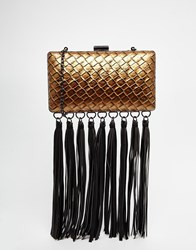 Glamorous Bronze Woven Clutch Bag With Fringing Bronzewoven