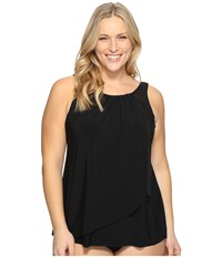 Miraclesuit Plus Size Solid Mariella Tankini Top Black Women's Swimwear