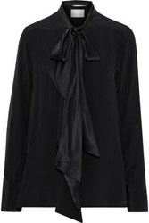 Jason Wu Woman Pussy Bow Charmeuse Trimmed Silk Crepe De Chine Blouse Black