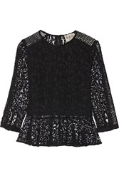 Sea Mesh Paneled Lace Peplum Top Black