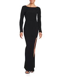 Versace Solid Back Draped Gown Black