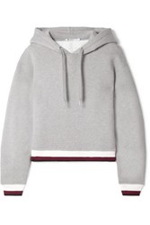 Alexander Wang T By Cropped Cotton Blend Fleece Hooded Top Gray