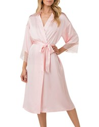 H Halston Satin Charmeuse And Lace Long Robe Pink