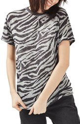 Topshop Women's Acid Wash Zebra Tee