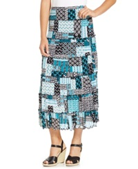 Jm Collection Tiered Mesh Patchwork Maxi Skirt