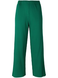 Issey Miyake Cauliflower Ribbed Detail Cropped Pants Green