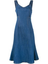 Adam By Adam Lippes Flared Midi Dress Blue