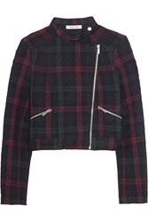 Elizabeth And James Patti Quilted Plaid Jersey Jacket Red