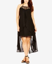 City Chic Plus Size Crocheted High Low Dress Black