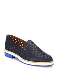 Aquatalia By Marvin K Zanna Perforated Leather Loafers Tan Navy