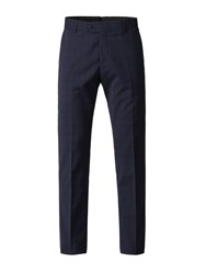 Gibson Men's Navy Trousers With Soft Red Check Blue