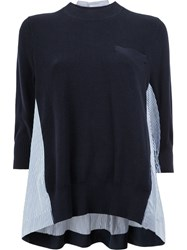 Sacai Pinstripe Insert Knitted Top Blue
