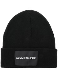 Calvin Klein Jeans Logo Patch Beanie Hat Black