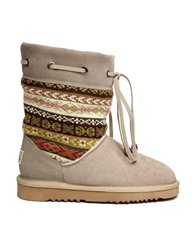 Love From Australia Patterned Short Leather Boots Taupe