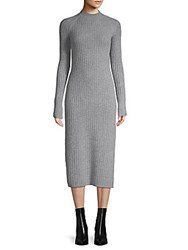 Ag Adriano Goldschmied Reign Cashmere And Wool Ribbed Midi Dress Grey