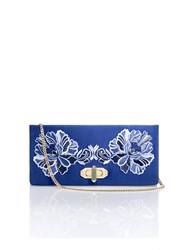 Shanghai Tang Peony Embroidery Silk Twist Lock Clutch Navy