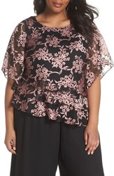 Alex Evenings Plus Size Embroidered Asymmetrical Top Black Coral
