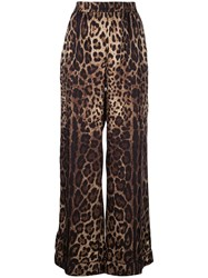 Dolce And Gabbana Leopard Print Track Trousers Brown