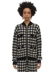 Gucci Cashmere And Silk Houndstooth Sweater Black
