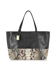 Ghibli Large Python And Leather Tote Black