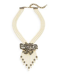 Heidi Daus Anything But Common Swarovski Crystal And Multicolor Rhinestone Beaded Pendant Necklace Gold Pearl