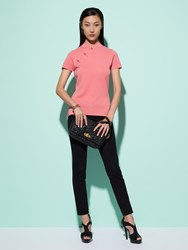Shanghai Tang Silk Cotton Stone Button Short Sleeve Qipao Top Pink