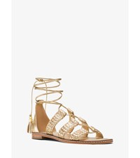 Monterey Gladiator Metallic Leather Lace Up Sandal Pale Gold