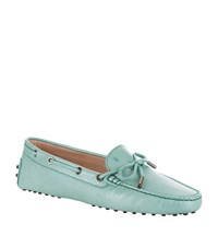 Tod's Laced Gommino Grain Driving Shoe Female Light Green