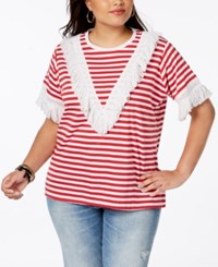Say What Trendy Plus Size Cotton Fringe Trim T Shirt Red Combo