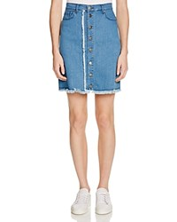 N Nicholas Denim Button Up Mini Skirt Blue