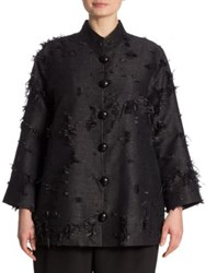 Caroline Rose Made In The Shade Fringed Jacquard Jacket Black