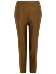 Jaeger Silk Cotton Capri Trousers Bronze