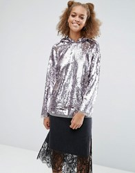 Asos Hoodie In All Over Sequin Silver