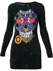 Manish Arora Sequins Embroidered Skull Dress Black