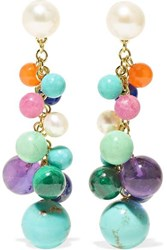 Ippolita Nova Cluster 18 Karat Gold Multi Stone Earrings One Size