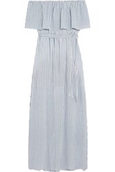Alice Olivia Grazi Off The Shoulder Striped Poplin Maxi Dress White