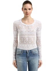 Isabel Marant Stretch Cotton Blend Lace Knit Sweater White