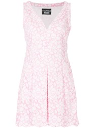Boutique Moschino Embroidered Floral Dress Pink And Purple