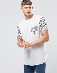 Asos Longline T Shirt With Aztec Sleeves And Pocket In Off White Off White